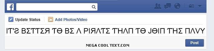 cool cursive fonts generator on Facebook